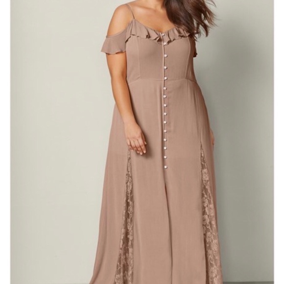Black plus sized cold shoulder maxi dress